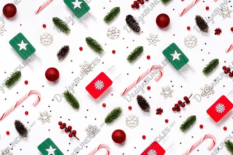 6 New Year patterns with Christmas decorations