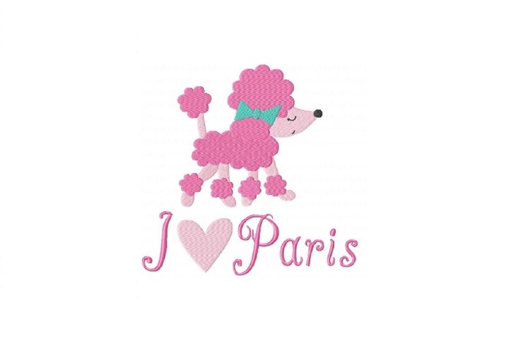 I Love Paris Poodle Machine Embroidery Design example image 1