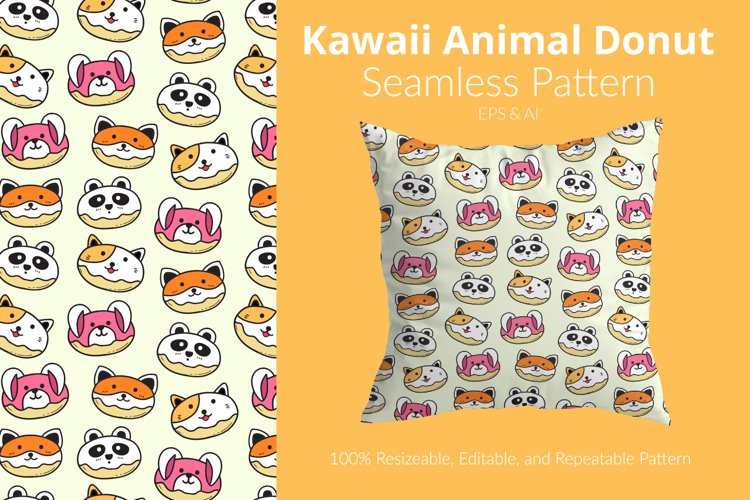 Kawaii Animal Donut - Seamless Pattern example image 1