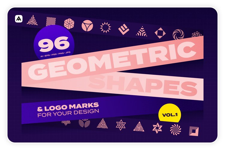 96 Geometric shapes & logo marks collection Vol.1 example image 1