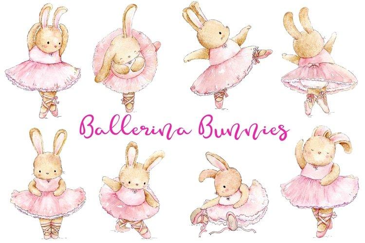 Watercolor Ballerina Bunnies | PNG/JPEG
