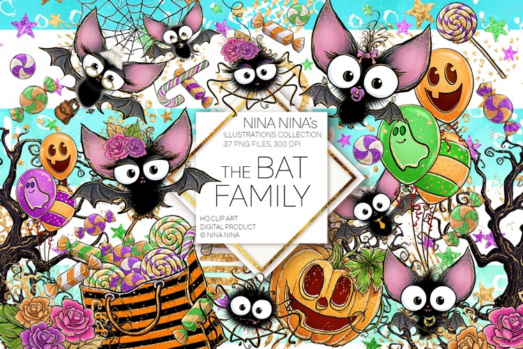 Cute Halloween Clipart, Bats Clip Art PNG Pack example image 1