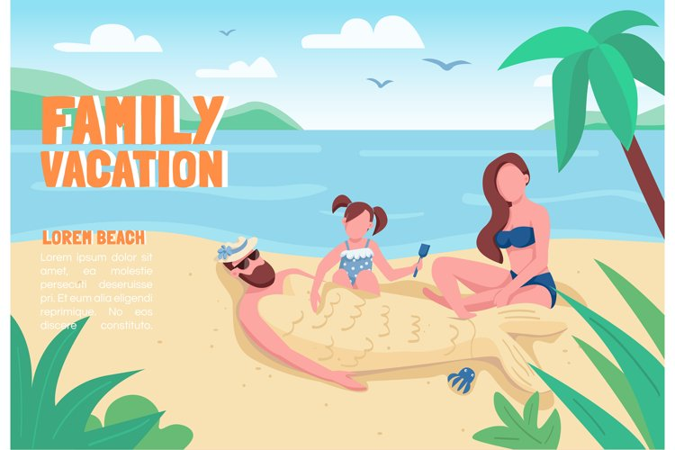 Family vacation banner flat vector template example image 1