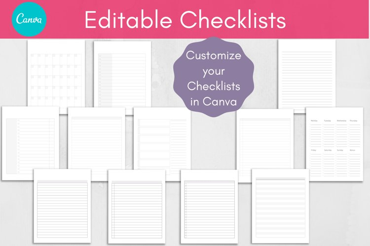 Editable Checklists & Trackers, Canva Template