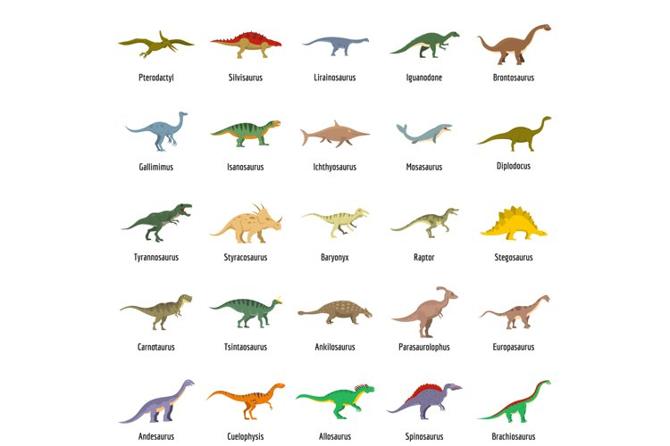 Dinosaur types signed name icons set vector isolated example image 1