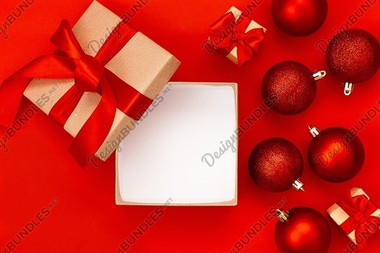 Christmas composition on a red background. example image 1