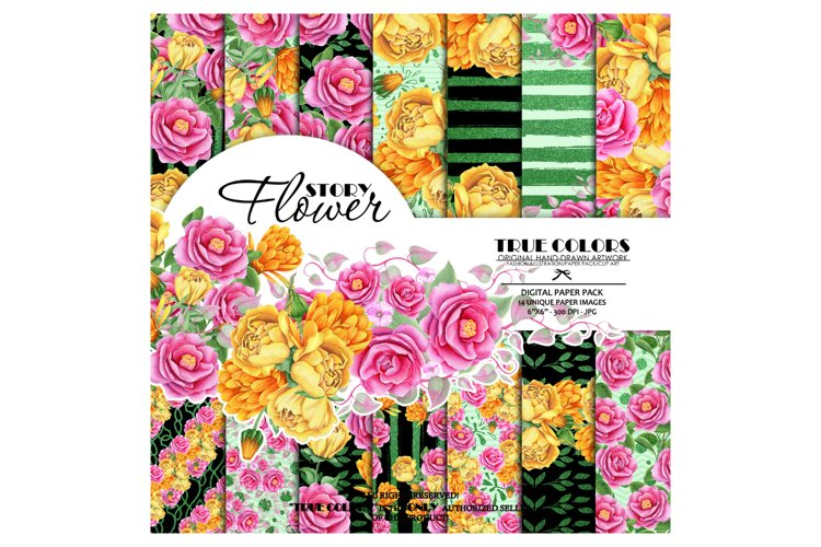 Yellow Red Rose Flower Story Digital Paper Pack Mint Black example image 1