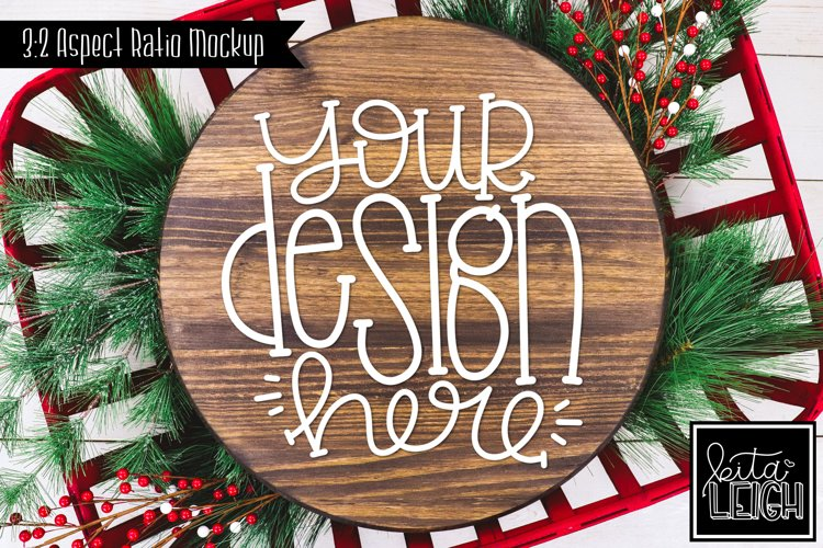 Wood Round Christmas Mockup with Holly example image 1
