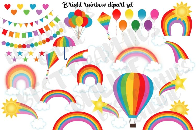 Rainbow clipart set, Cute weather clipart, Scrapbook papers