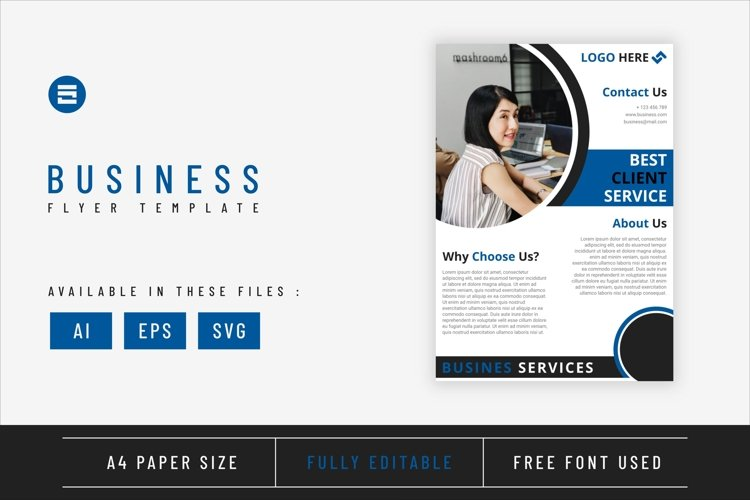 Business flyer template with light blue geometry shapes