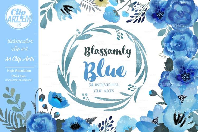 Blue Floral Clip Art, Wedding Watercolor clip art 34 PNG example image 1