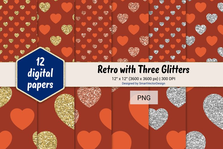 Hearts Retro with Three Glitters Color Combo #23 example image 1