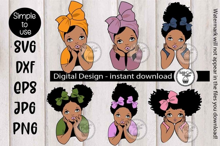 Afro Girl with puff 86 example image 1