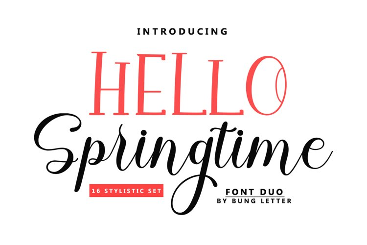 HELLO Springtime - Font Duo example image 1