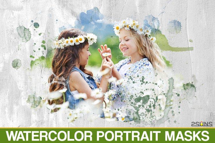 20 Watercolor portrait paint masks, photo frame, Photoshop example image 1