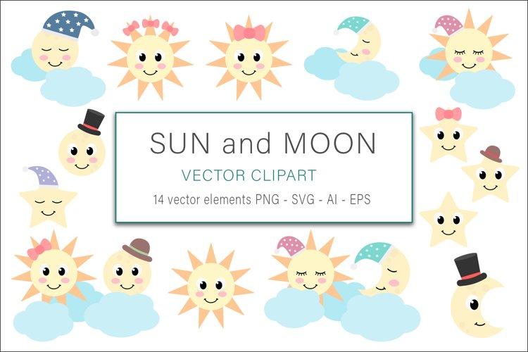 Sun and Moon Clip Art Vector