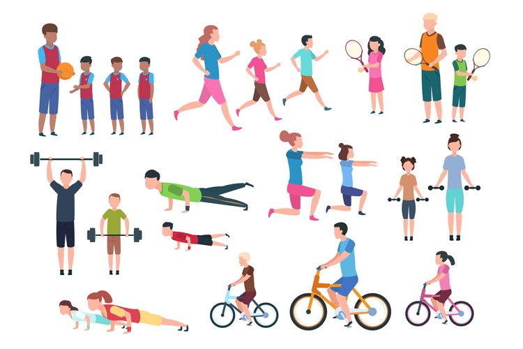 Family playing sports. People fitness exercising and jogging example image 1
