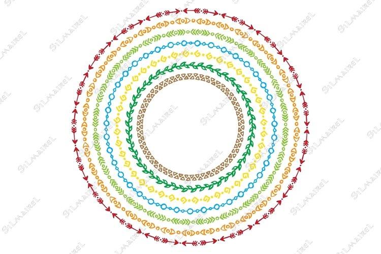 Colorful rainbow ethnic tribal frame wreath vector example image 1