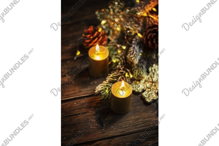 Christmas decoration with gold candles and light example image 1