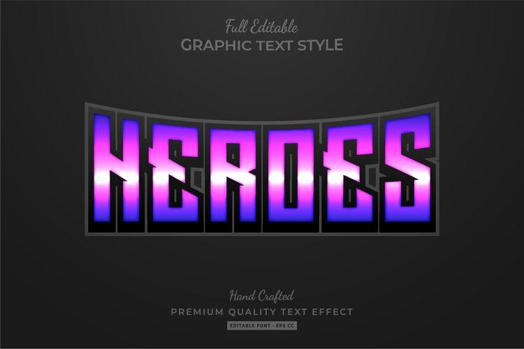 Heroes Purple Editable Text Style Effect Premium example image 1