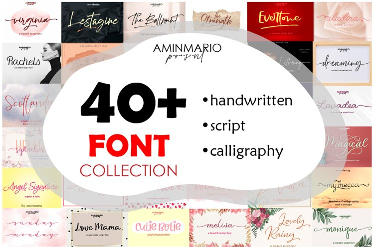40 Font Collection Bundle example image 1