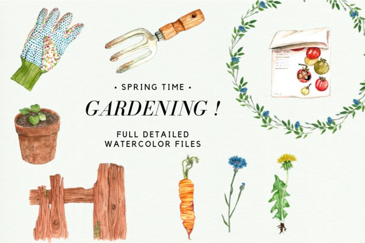 Watercolor Gardening Clipart Set, Spring Wreath, Gardening example image 1