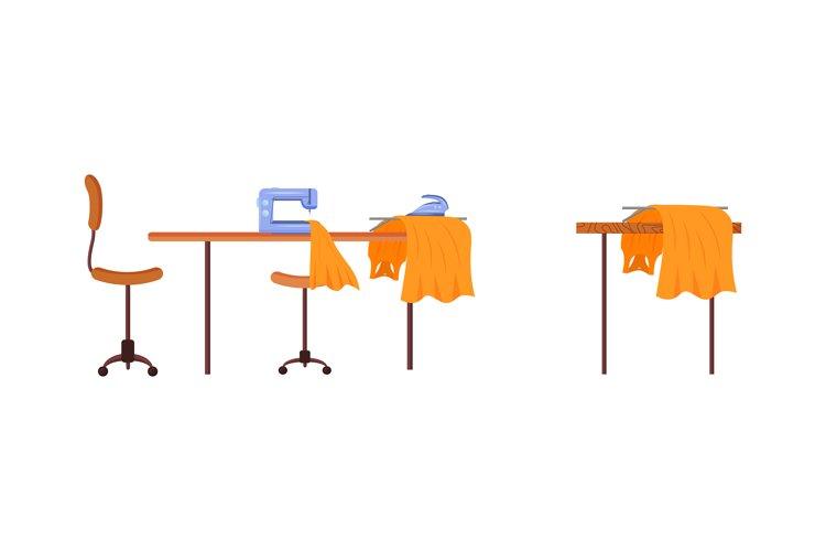 Dressmaker workstation flat color vector object set example image 1