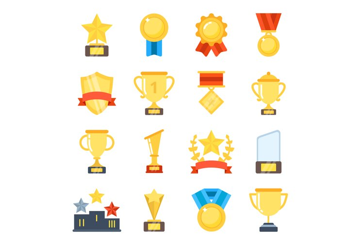 Golden cups for winners and others sport trophy example image 1
