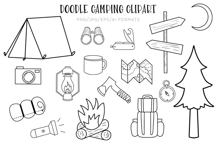 Doodle Camping Vector Clipart