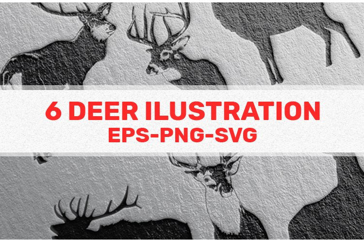 6 Deer illustration black, white and sillhoute example image 1