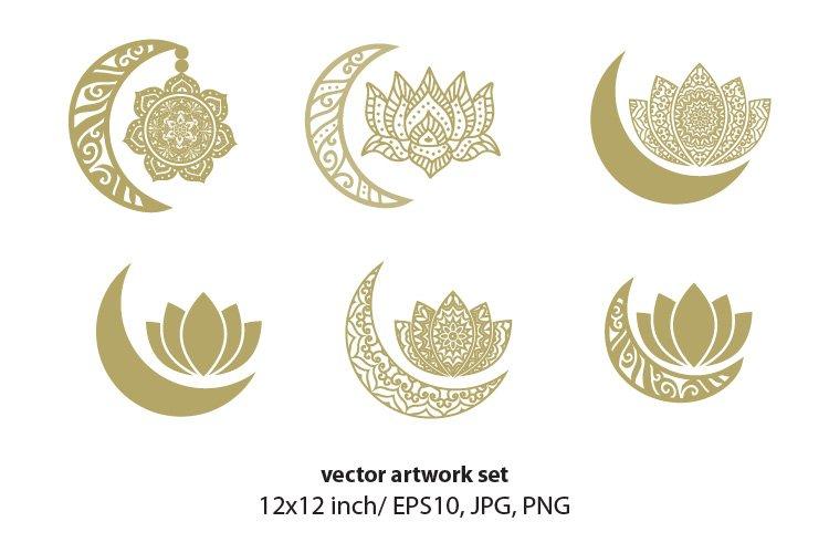 golden lotus, sun and moon - VECTOR ARTWORK SET