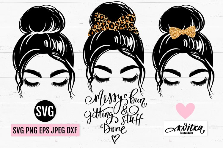 Messy Bun hair SVG, messy bun bundle, bun mom, lashes svg