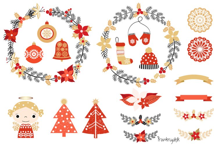 Red and gold Rustic Christmas clipart set with wreaths example image 1