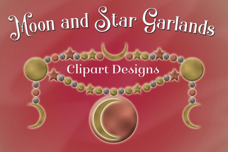 Moon and Star Garlands Clipart Designs example image 1