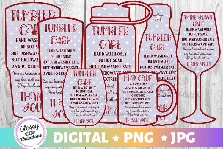 Tumbler Mug Wine Glass Care Cards 7 PACK! Stars! PNG - JPG example image 1