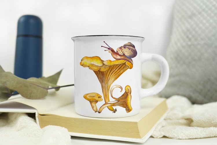 Forest mushroom chanterelle Snail Watercolor sublimation PNG example image 1