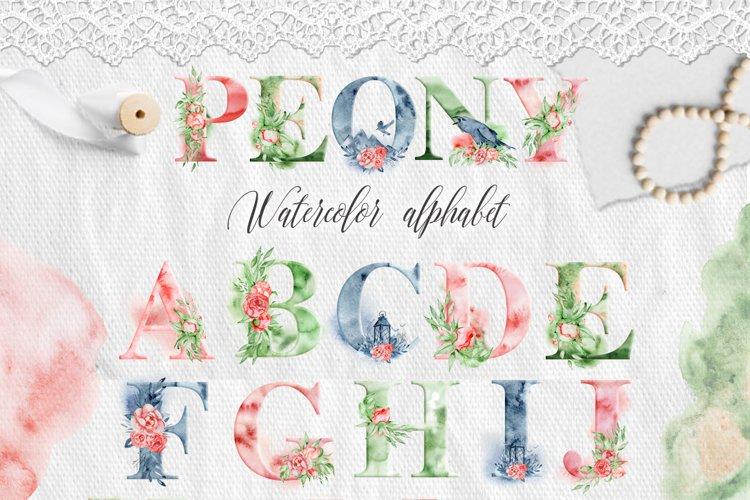 Alphabet clipart Watercolor alphabet Digital alphabet Letters clipart Floral alphabet Peonies alphabet Romantic clipart Monogram Numbers