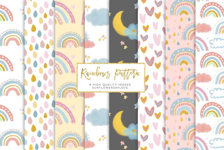 Modern Watercolor Rainbow Digital Paper, Pastel Rainbow example image 1