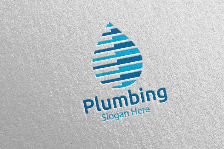 Plumbing Logo with Water and Fix Home Concept 73 example image 1