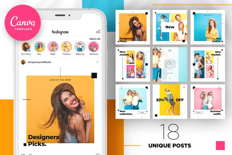 Colorful fashion Instagram 18 Posts Template | CANVA example image 1