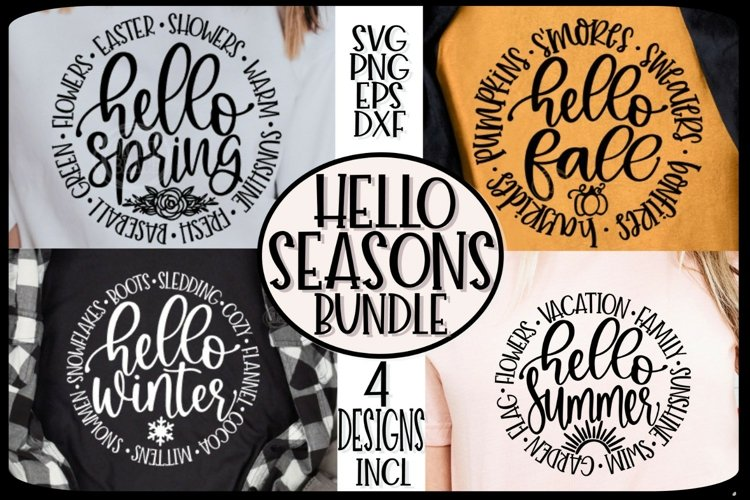 HELLO SEASONS- FALL SPRING SUMMER WINTER - SVG PNG EPS DXF