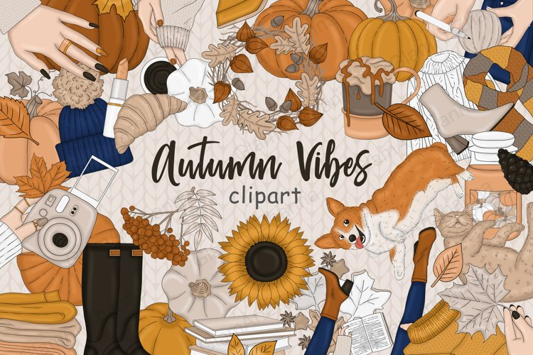 Autumn Vibes CLIPART, Spice Fall Clipart Cozy Pumpkin - PNG