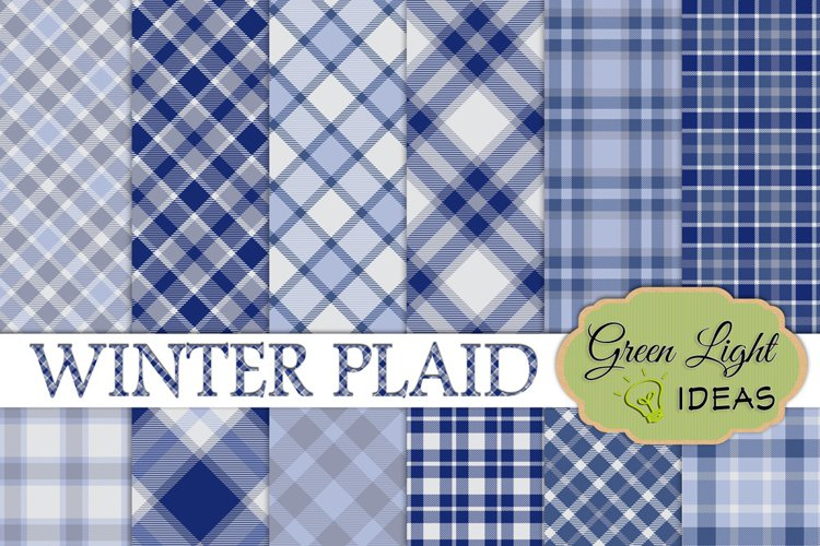 Winter Plaid Digital Papers, Plaid Backgrounds example image 1