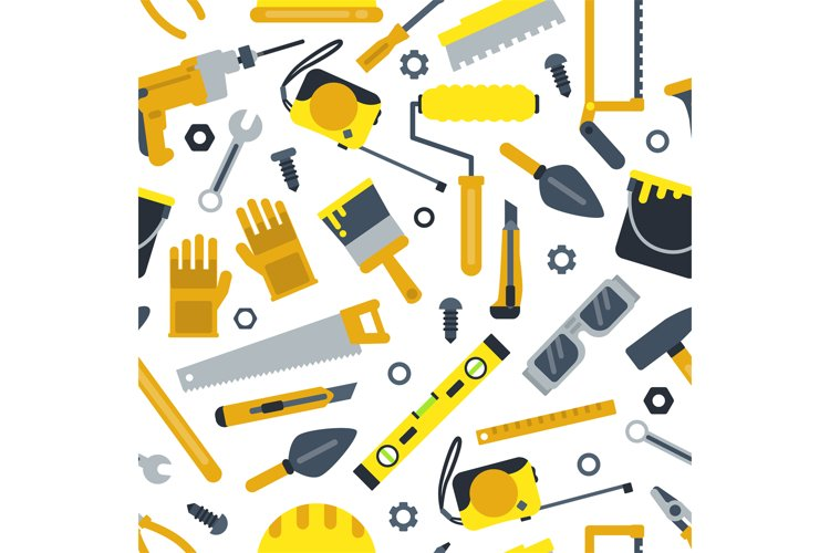 Illustrations for work shop. Different construction tools. R