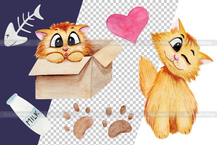 Watercolor cat clipart png, cute cat clip art, kawaii pet example 3