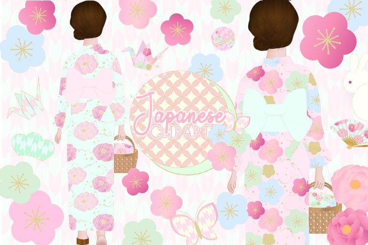 Japanese Kimono Girl Clipart example image 1