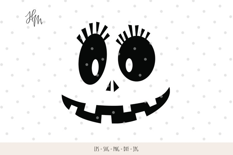 Cute Pumpkin face cut file SVG DXF EPS PNG JPG example image 1