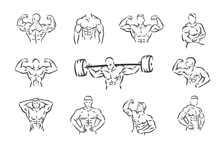 Bodybuilder, fitness, sport, man with muscles.