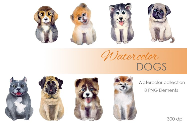 Watercolor Clipart. Dog clipart. Watercolor cute dog clipart example image 1