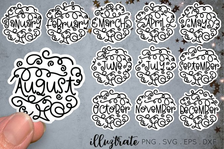 Months of the year SVG Cut File   Planner Stickers SVG example